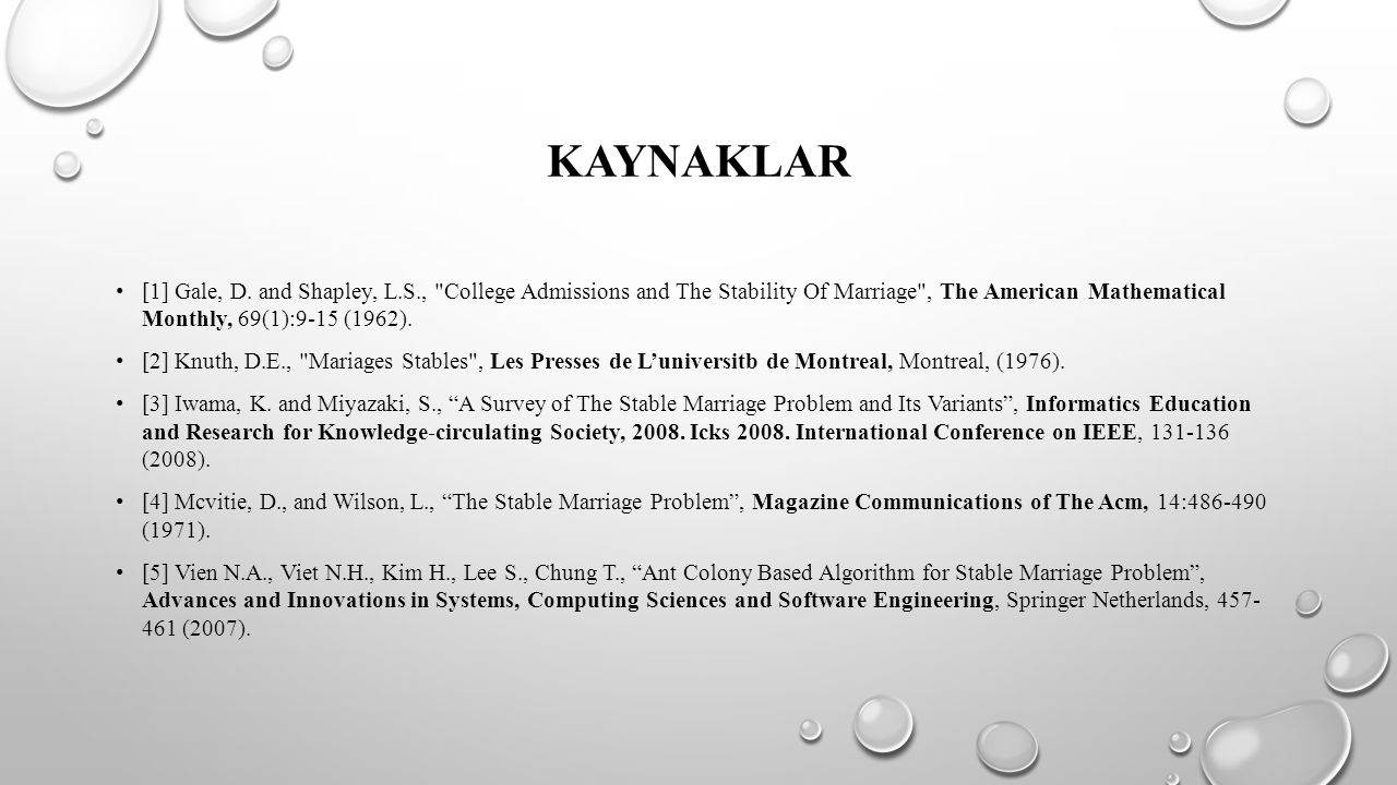 Kaynaklar [1] Gale, D. and Shapley, L.S., College Admissions and The Stability Of Marriage , The American Mathematical Monthly, 69(1):9-15 (1962).